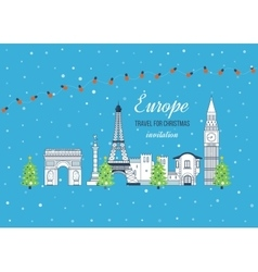Travel to Europe for christmas Merry Christmas vector image