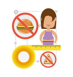 woman in diet plan to change the food vector image vector image