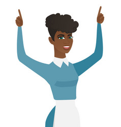Young african cleaner standing with raised arms up vector