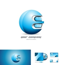 Blue metal sphere 3d logo design vector