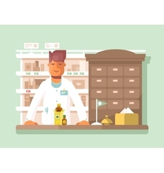 Pharmacist at the pharmacy vector