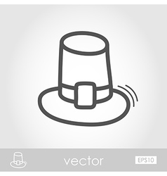 Pilgrim hat outline icon harvest thanksgiving vector