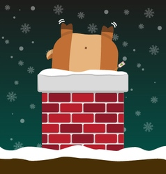 Cute fat big reindeer stuck in chimney vector
