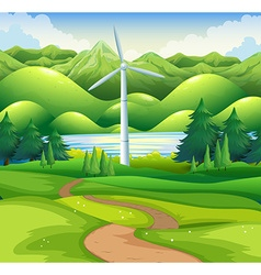 Windmill tower in the field vector image