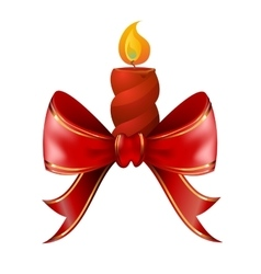 Christmas candle combined with red bow vector
