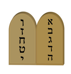 Tablets jewish from 10 commandments icon flat vector