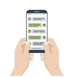Smartphone in hands with opened messenger app vector