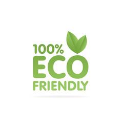 Eco friendly green leaf label sticker vector