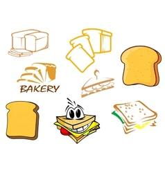 Toasts and bread icons vector