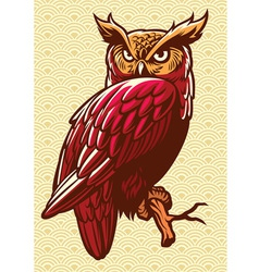 Owl stand on the tree branch vector
