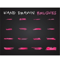 Set of pink hand drawndoodle sketched grunge vector