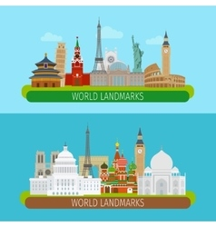 World landmarks banners vector