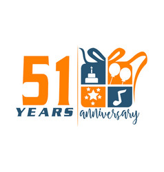 51 year gift box ribbon anniversa vector