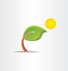 3d eco bended tree and sun icon vector