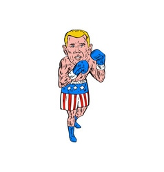 Boxer pose usa flag etching vector