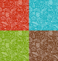 Set of seamless doodles christmas patterns vector