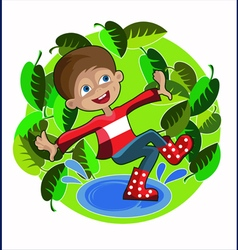 Boy foliage spring vector