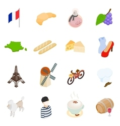 France isometric 3d icons vector