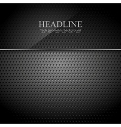 Dark metallic perforated texture with glass banner vector
