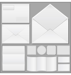 Envelope paper and postage stamps vector