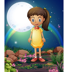 A little girl in the rocky garden vector