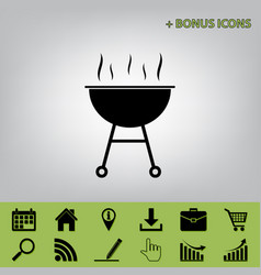 Barbecue simple sign black icon at gray vector
