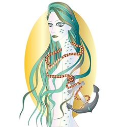 Beautiful sirene with long green hair vector image vector image