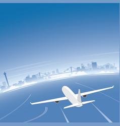 busan skyline flight destination vector image