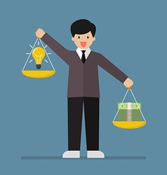 Businessman balancing idea and money on two vector