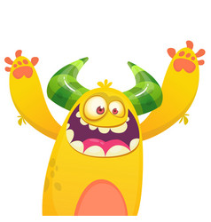 cartoon yellow furry monster vector image