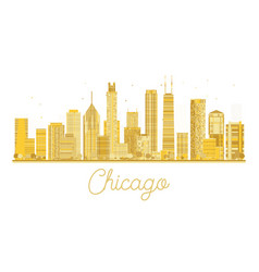 chicago golden silhouette isolated on white vector image vector image