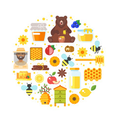 Composition of honey icons vector
