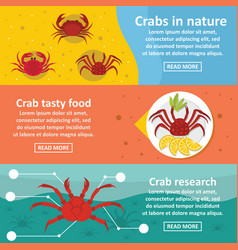 Crab nature banner horizontal set flat style vector
