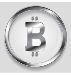 Crypto currency metal icon bitcoin design vector