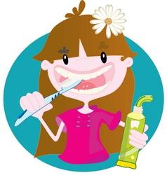 Cute girl washing teeth vector image