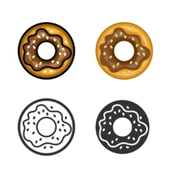 Donut colored icon set vector image