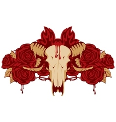 Emblem with skull sheep and rose vector