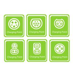 green eco electric fuel pump icon vector image