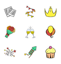 Happy day icons set cartoon style vector