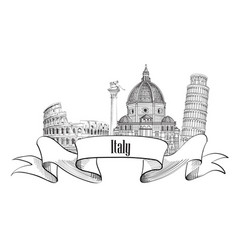 italy architectural sign travel italy label vector image