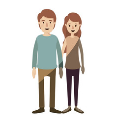 Light color shading caricature full body couple in vector