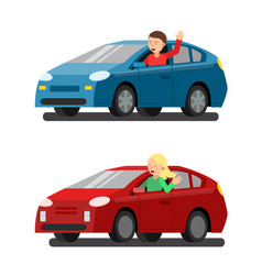 male and female drivers in cars vector image vector image