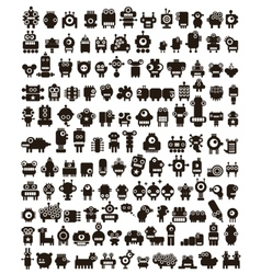 Mega set of small monsters and robots vector image vector image