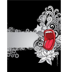 mouth with floral background vector image vector image