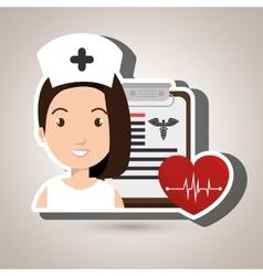 Nurse heart clipboard medicine vector
