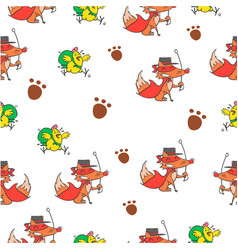 Pattern of foc and chick colorful vector
