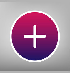 Positive symbol plus sign purple gradient vector