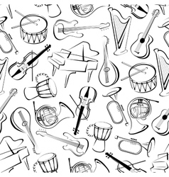 Seamless musical instruments pattern background vector image vector image