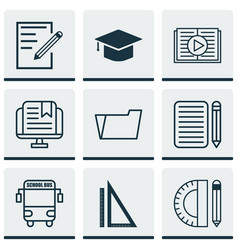 Set of 9 school icons includes taped book vector
