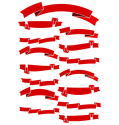 set of fifteen red cartoon ribbons vector image vector image